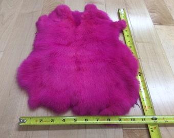 FUSCIA RABBIT SKIN Hide Fur Pelt Craft