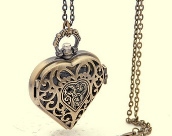 Lovely Heart Antique Clock necklace chain Bronze Pocket Watch