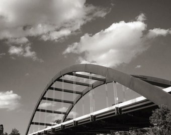 Black and White 360 Bridge in Austin Framed Photograph