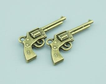 20pcs 34x15mm Antique Bronze Gun Charm Pendants,Weapon Charm Pendants ZLJ022