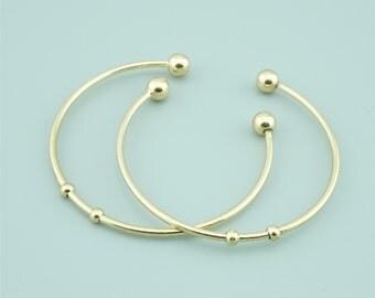 5pcs 65mm Gold Brass Bangle,Open Bracelet Cuff,Brass Bracelet Cuff,Open Bangle CZ008