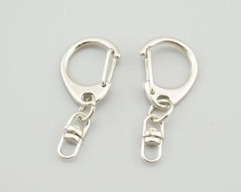 20pcs 42mm  White K Alloy Key Ring With Big D Clasp Key Chains DIY Key Chain KY004