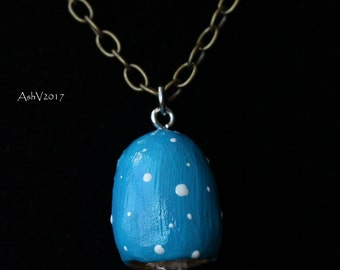 Blue Cap Quartz Point Mushroom Crystal Pendant