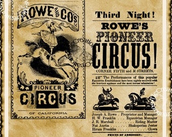 California Vintage Circus Posters, Image Transfer, Printable
