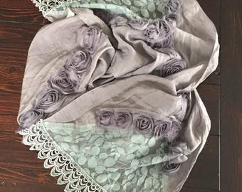 Grey long Italian scarf - Soft cotton linen scarf - Scarf with roses – Scarf with lace -  Bohemian style wrap