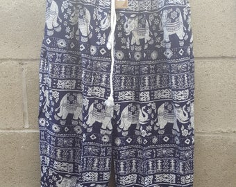Elephant print rayon pant with pockets, hippie pant, hippie clothing, yoga pant, one size