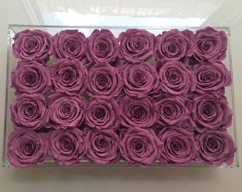 24 Eternity roses in a lucite tray