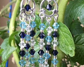Long Blue Chandelier Earrings Swarovski Crystals Sterling Silver