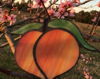 Peachy stained glass suncatcher