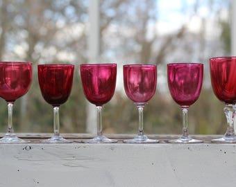 Six Gorgeous Vintage Cranberry Coloured Wine Glasses/Victorian Wine Glasses/Antique Wine Glasses