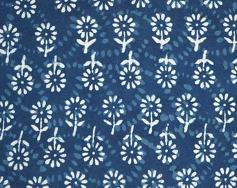 White and Indigo Blue Flower Print Indian Cotton Fabric by the Yard