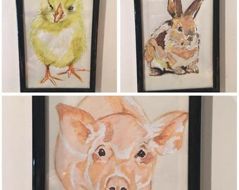 Farm animal marker sketches: set of 3