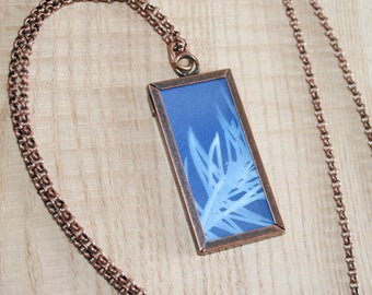 Sun Print Cyanotype Window Necklace - Pine Needles