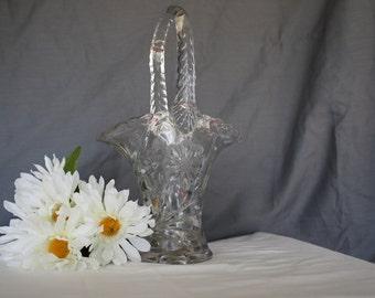 Glass Basket, Pressed Glass Brides Basket
