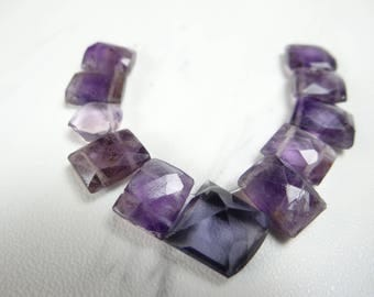 Amethyst rectangle faceted briolettes/10x9-11x8mm/3.5 inches long