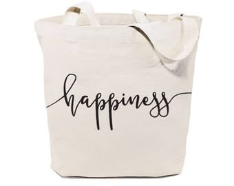 Cotton Canvas Happiness Gym, Yoga, Shopping Travel Reusable Shoulder Tote and Handbag, Gifts for Her, Valentine's, Bridesmaid, Motivational