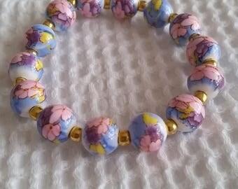 Blue Porcelain Floral Bracelet