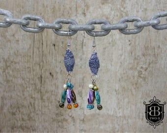 Earrings earrings made of stained Jeans Denim