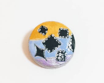 colourf/geometry/Brooch / Pin ,Tiny painting, ornament,Polymer clay ,Acrylic paint ,Handpainted