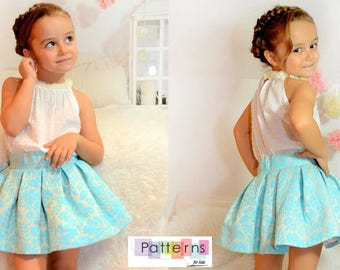 Midi Skirt  for baby babies toddler girls PDF Sewing PATTERN+YOUTUBE Tutorial **size 1 to 10 years** Spanish Design **