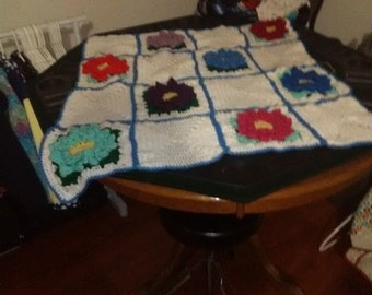 Flower granny squares toddler blanket