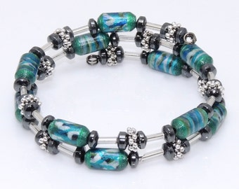 Azure Adornment (Upcylced Paper Bead Bracelet/HP0090)