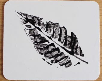 Leaf Print Coasters (Black & White)