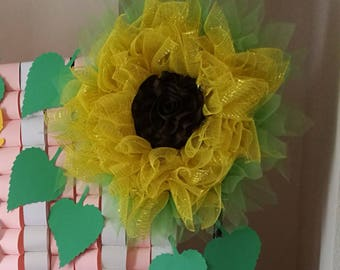 Sunflower Rose Center Wreath Giant Big Large Mesh Metal