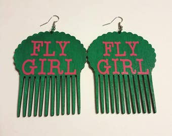 Large hot pink and green afro pick earrings