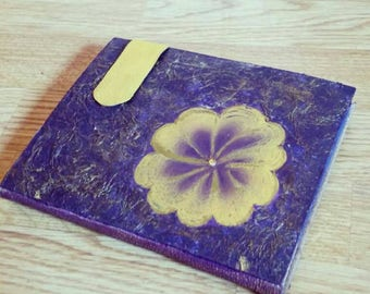 Handmade Vintage Notebook - journal  diary planner agenda perfect gift old paper  purple leather yellow flower hand draw journal gold