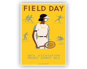Field Day 1930s WPA Poster, Athletic Recreation Promotion, Mid Century Art, Vintage Style Print