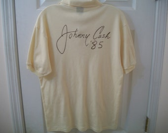 Vtg 80s Johnny Cash Shirt L 1985 Tour Concert Sun Records Nashville Folsom Prison Blues June Carter Country Rock Rockabilly