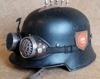 Raider helmet, steel helmet, steampunk helmet / wasteland helmet