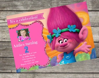 Personalized Dreamworks Princess Poppy Birthday Invitation- Digital File Only- DIY 5x7