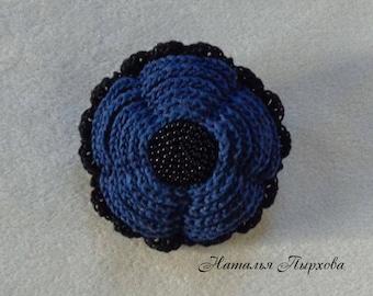 Brooch-flower .Knitted.