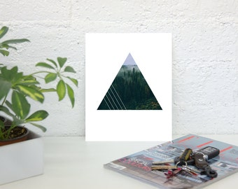 Foggy Forest Triangle Geometric Print (unframed) **FREE SHIPPING**