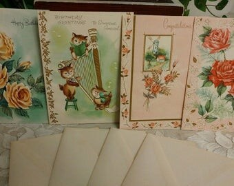 LOT of 4 Unused 1940's 1950's EMBOSSED Vintage Greeting Cards Free shipping