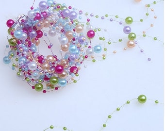 1.2m 6PCS 6 Colors Pearls Beads Chain Wedding Party Decoration DIY scrapbooking