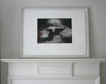 handmade, original black and white etching, large hand pulled print.
