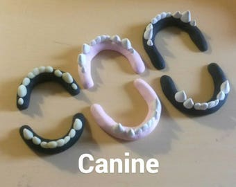 Custom-Made To Order-SemiRealistic Canine Fursuit Teeth/Jawsets(Includes Glow In The Dark Option)