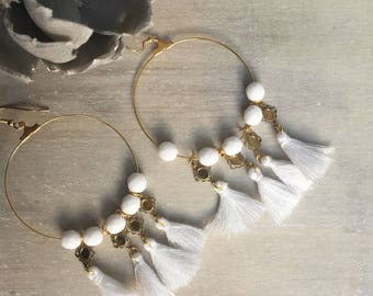 REF 0027 - Bohemian earrings white and gold