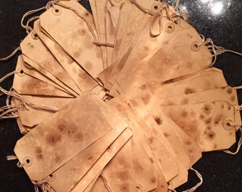 Primitive brown coffee tea stained hang tags (20)