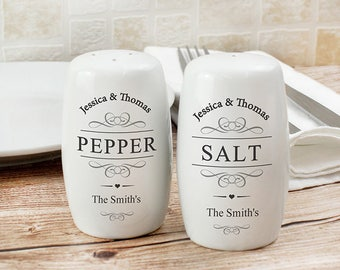 Personalised Salt and & Pepper Pots Set Ceramic Gifts Idea For Wedding New Home House Warming Couples Shakers