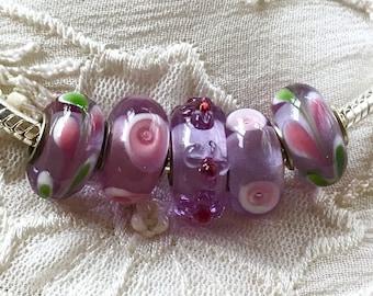 5 Glass Beads Set, Murano Glass Beads, Lampwork Glass,  Large Hole Beads, Euro Charm Bracelet Beads
