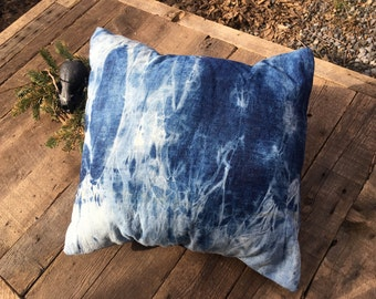 Electric Sky Handmade Tie Dye Pillow with Hypoallergenic insert.