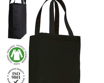10 Pack 100%Cotton CANVAS 10oz Tote Shopper Bags with Long Handle. Gusset : 10cm. Colour - BLACK