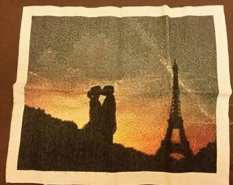 Unique finished Cross stitched design, Love in Paris
