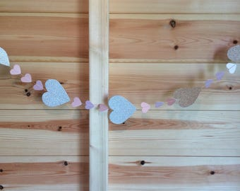 Silver glitter and Pink heart garland, Decor, Weddings, Parties, Celebrations,