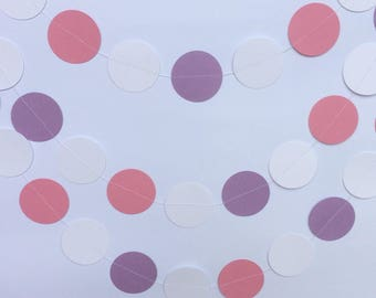 Pink, White and Purple Circle Garland, Decor, Parties, Baby Showers, Weddings, Celebrations