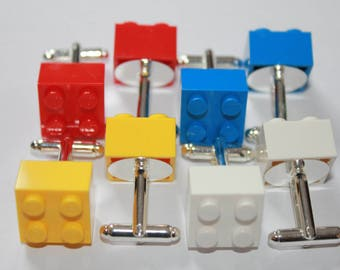 Lego Cufflinks, Silver Plated Cufflinks, Wedding/Party Cufflinks Handmade with Lego® Bricks
